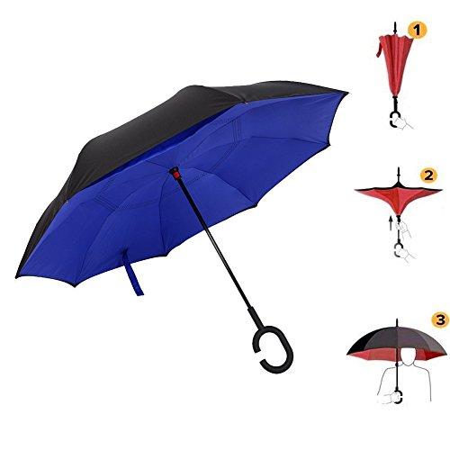 Kvolity Doppio Pongées Ombrello Invertito, Anti - Ultravioletto, Vento e Pioggia e C, Preferibilmente Ombrello Piacevole di Viaggio Blu