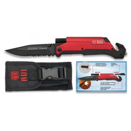 RUI Flint tattico coltello / torcia e rompevidrio Punta cuttercinturón Red 19451