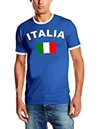 WM 2018 Italien T-SHIRT mit Deinem NAMEN + NUMMER ! Fußball Trikot Ringer Italien Blau S M L XL XXL