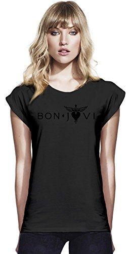 Baumwolle Rolled Sleeve Shirt (Bon Jovi Logo Womens Continental Rolled Sleeve T-Shirt Medium)
