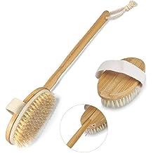 Cuerpo Cepillo, iFanze Cepillo Espalda Ducha, Suave Natural Cerdas Cepillo y Desmontable Mango Largo