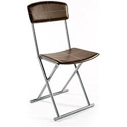Intérieur Discount Lot de 4 chaises Pliantes Marrons - Stella - Similicuir