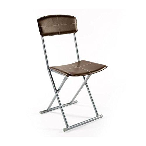 Chaise pliante simil-cuir marron Stella (lot de 4)