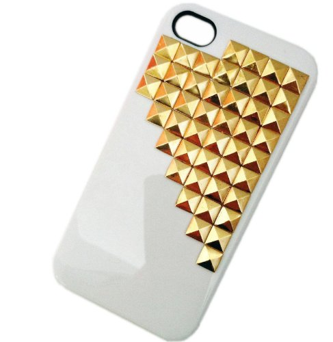 Punk Pyramid Studs and Spikes Mobile Phone Case for iPhone 5 Studs Cell Phone Case White Golden