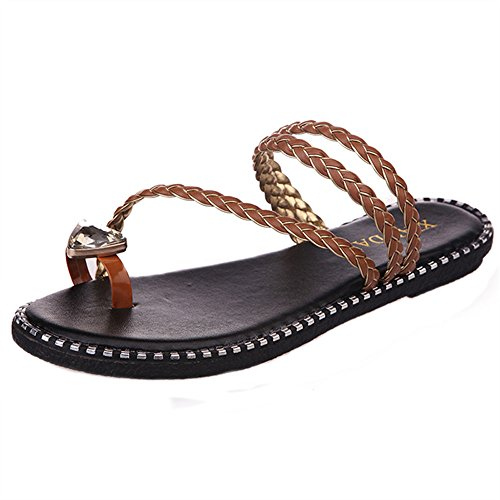 FEITONG Rhinestone Frauen Hausschuhe flache Freizeit Flip Flops Sommer Strand Schuhe Braun