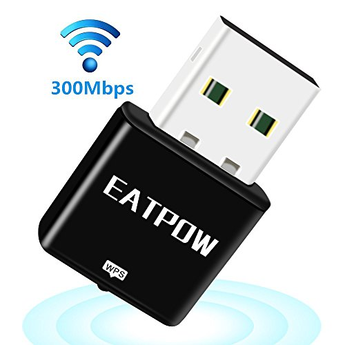 Eatpow 300Mbps Dongle WiFi 2.4G 802.11N Wireless USB LAN adattatore/adattatori con interno ad alta potenza antenna e supporto Win7/8/10sistema per PC/laptop/tablet. nero Black 300Mbps