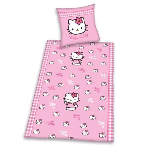 Herding 448119050412 Bettwäsche Hello Kitty, Kopfkissenbezug: 80 x 80 cm + Bettbezug: 135 x 200 cm, 100 % Baumwolle, Renforce