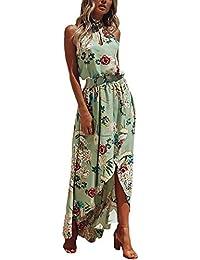 b311f9232f5593 Targogo Sommer Damen Kleid Elegant Strandmode Neckholder Kleid Gedruckt  Flower Vokuhila