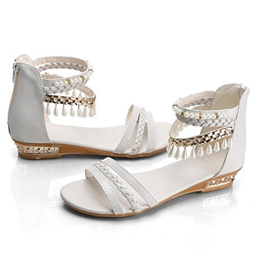 COOLCEPT Femme Mode Sangle De Cheville Sandales Talon Bas Bout Ouvert Chaussures Fermeture Eclair Beige