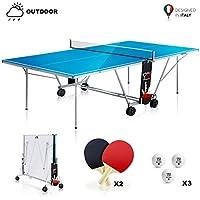 YM Mesa de Ping Pong exterior plegable Outdoor TORNADO, Dimensiones oficiales de Torneo 274 x 152,5 x 76 cm, profesional, Ruedas para transporte, fácil de Mover, Raquetas y pelotas de regalo incluidas