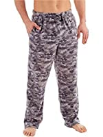 Men's Classic Camo or Checked Polar Fleece Lounge Wear Pyjama Trouser Bottoms (Grey-Camo) (X-Large)