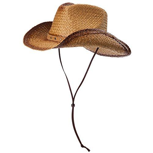 SIGGI Unisex Cowboy Hüte Strohhut Formbare Krempe mit Kinnriemen kaffeebraun - Beste Cowboy-hut