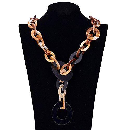eshion Jewelry Damen Vintage Lang Fashion Halskette Exquisite Acryl Kreis Choker Statement Ketten Lenker Radaufhängung COLLARES Steampunk Halskette Femme schwarz -