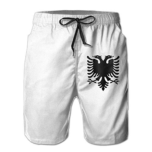khgkhgfkgfk Albanian Eagle Men's Board Shorts Beach Swim Trunks Beachwear Casual Classic Fit Trunks XX-Large -