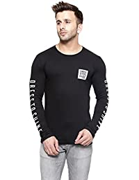 GESPO New Trendy Men's Cotton Round Neck Full Sleeves Tshirt (Black)