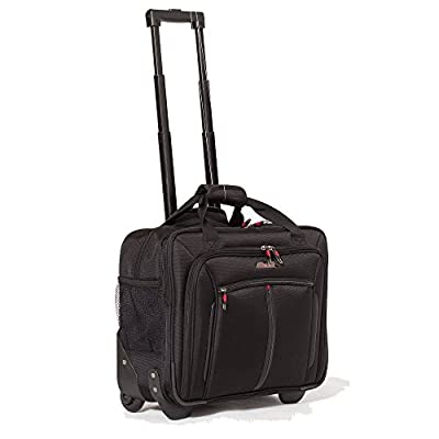 """Aerolite 17"""" Executive Cabin Luggage Business Bag Laptop bag with Wheels - Approved for Ryanair, Easyjet, BA & Jet2, Black"""