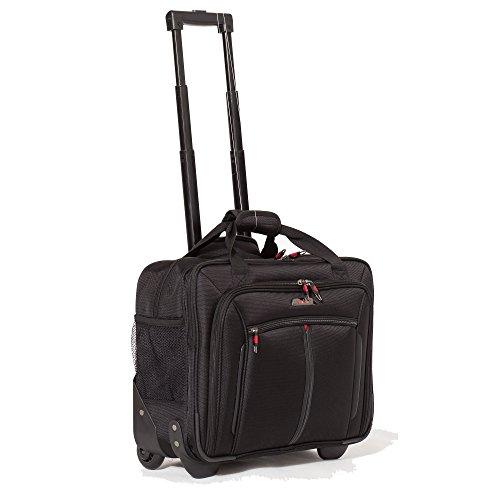 Aerolite 17″ Rollkoffer Laptoptrolley Business-Tasche Laptop-Tasche bis 17,3″- Zugelassen für Ryanair, Easyjet, BA & Jet2, Schwarz