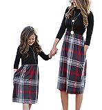 Mutter Tochter Print Eltern-Kind-Kleid Elegante Lange Rock Familie passende Kleidung Herbst und Winter Kleid Weibliches Mädchen Kleid