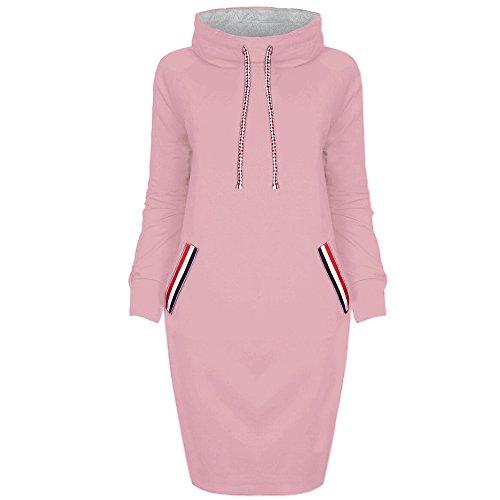 Loveso Damen Hoodies Kleider Bekleidung Einfarbig Herbst Winter Warm Frauen Kapuzenkleid Kapuzenpullover Streetwear Outerwear ((Größe):42 (2XL), Rosa) (Xxl T-shirt Ship Free Herren)
