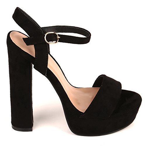 Damen Plateau Sandaletten | Peeptoes Party Schuhe | Pumps Blockabsatz High Heels |Satin Samt Strass Fransen Schwarz Schwarz