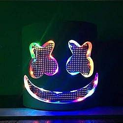 raspbery DJ Masque Marshmello DJ Masque Performance de Scène de Couvre Chef Clignotant avec des Lumières LED pour Le Bar de Boîte de Nuit Mascarade Party Costume