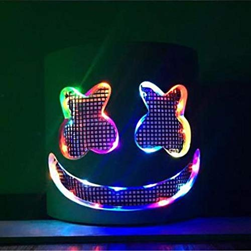 advancethy Latex Weiß Maske DJ Masken LED Musikfestival Requisiten Bühnenperformance Vollkopfmaske für Cosplay Dance Shows ()