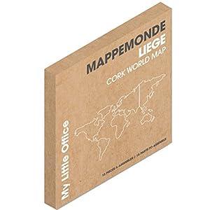 Pizarra de corcho decorativa en forma de mapamundi para notas y mensajes de La Chaise Longue