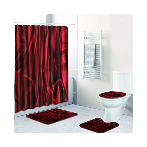 SonMo 4-Teiliges Duschvorhang Set Bad-Teppiche Toilette Anti-Rutsch-Matte Polyester Anti Bakteriell Wasserdicht Badezimmer Vorhänge Duschvorhangringen Blumenkorbband Wie Dunkelrot -