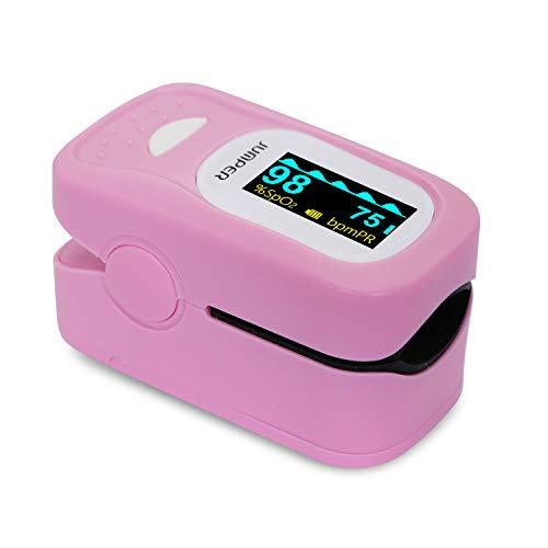 JUMPER 500A Digitales Pulsoximeter Finger Pulsoximeter Sauerstoffsättigung und Pulsfrequenzmessgerät mit Lanyard AAA-Batterien Silikonhülle (Rosa)