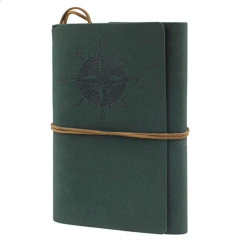 Oyedens Estilo Vintage NáUtico Libreta Cuaderno Agenda Diario Hoja Cuero PU Verde Oscuro Para Estudiante (Marrón) (Verde)