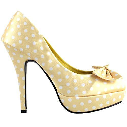 Show Story Licht gelb weiß Zwei Ton Fleck Polka Dots Bogen Stiletto Plattform High Heel Pumpe, LF30406BH35, 35 EU, hellgelb -