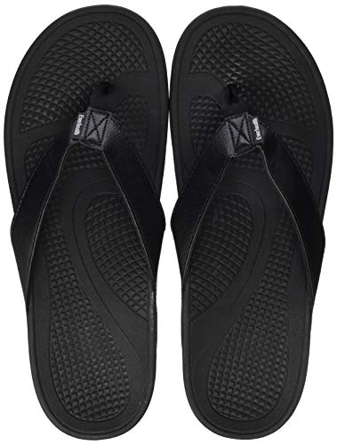 Everhealth infradito uomo ortopediche sandali mare pantofole sportivi ciabatte da spiaggia e piscine, sandali per sostegno dell'arco plantare (black eur 44 / us m's 12 w's 13)