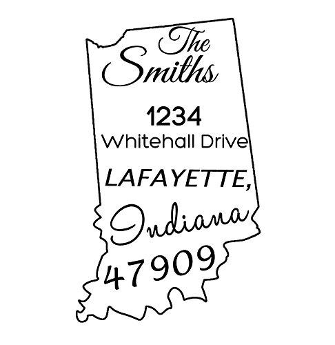 Indiana State Map selbstfärbenden Stempeln Rücks Stamp Personalisierte Briefmarken Vorschlag Geschenk-Idee -