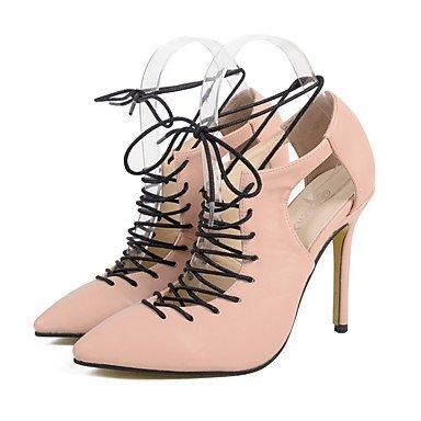Moda Donna Sandali Sexy donna tacchi per l'Autunno/Inverno tacco cava donne Cross Lace-up Legare indietro sandali per femmina nera e mandorla SizeUS 8.5 Black