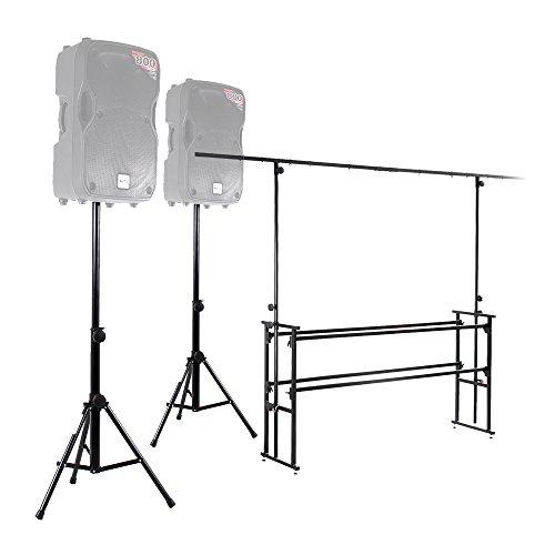 Ekho 6ft Mobile DJ Deck Stand + Lighting Rig + Speaker Stands