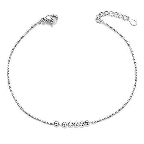 SWEETIEE - Bracelet Femme en Pur Argent 925 Sterling, Chaine fine élégante avec Ornement simple des petits Perles Boules, Platine,