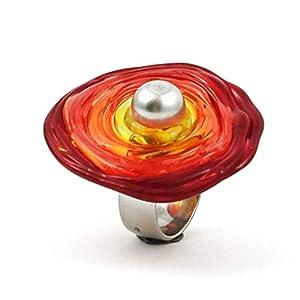 Edelstahl-Ring in Rot-Tönen mit Scheibe aus Murano-Glas | passt immer | verstellbar (16-21) | Wechsel-Ring | Personalisiertes Geschenk für sie zu Valentinstag Jahrestag Hochzeit Geburtstag Mama