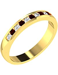 His & Her 18KT Yellow Gold, Diamond And Amethyst Ring For Women - B07B4Y9T1W