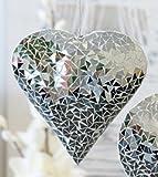 Hänger Herz Metall / Glas silber Breite 23cm