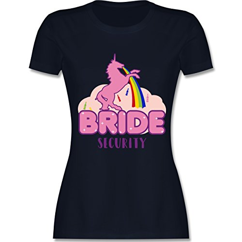 Shirtracer JGA Junggesellinnenabschied - JGA Bride Security Einhorn - Damen T-Shirt Rundhals Navy Blau