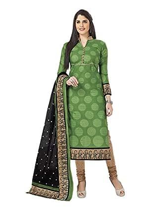 Miraan Women's Cotton Dress Material (SAN1911_Green_One Size)