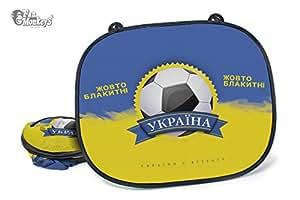 Ukraine 2 tlg. Set Auto-Sonnenschutz – Fanartikel Sonnenblende Sonnenschutzblende für Seitenscheibe für Kinder Baby