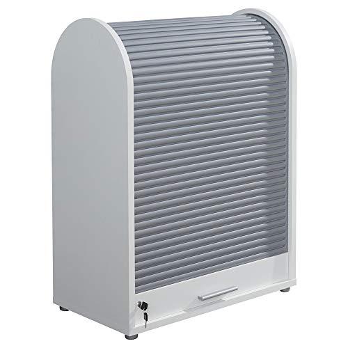 trendteam smart living Büro Rollladenschrank Schrank Aktenschrank Basix, 70 x 94 x 40 cm Weiß Absetzung Grau mit viel Stauraum -