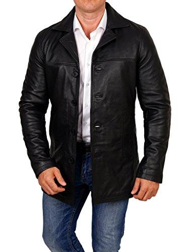 lines by cris d. fedd Echte Herren Lederjacke aus Rindsleder, Mantel Leather Jacket Coat, Größe XXXL, schwarz A-line Vintage Mantel