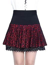 f10f09baf3 Falda para Mujer Mini Encaje Falda Plisada Verano Otoño Mode De Marca  Rockabilly Short Tutu Faldas