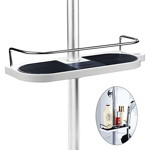 Merisny Adjustable Shower Caddy Bathroom Shelf Organizer Rack for Shampoo, Conditioner, Soap (ABS Body and No Drilling Wall Mounted)