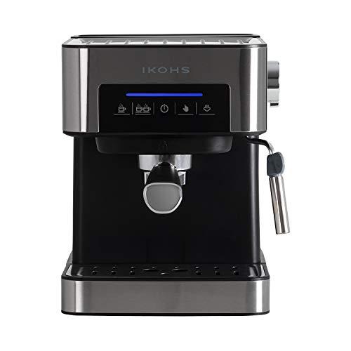 IKOHS TAZZIA - Cafetera Espress para Espresso y Cappuccino, Presión 20 Bares, 850 W, Depósito 1,5 litros, Vaporizador Orientable, Digital, con Doble Salida, Regulador de Presión, Color Acero y Negro