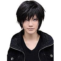 Peluca de pelo corto liso recto peluca de moda para hombre cosplay fiesta  peluca de disfraz 307d82f7214c