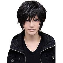 Peluca de pelo corto liso recto peluca de moda para hombre cosplay fiesta peluca de disfraz