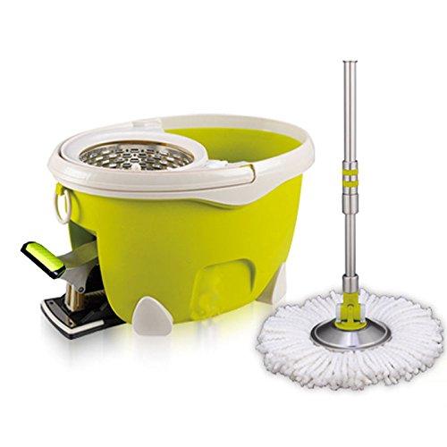 ARSUK Easy Wring und Clean Mikrofaser-Wischmop und Eimer, mit Power-Schleuder und 360 Grad Rotationskopf, Zitrone